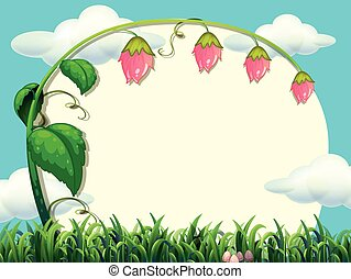 Frame design with flower in the field