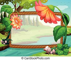 Frame design with flowers and river