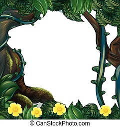 Frame design with flowers and trees