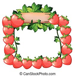 Frame design with fresh strawberries