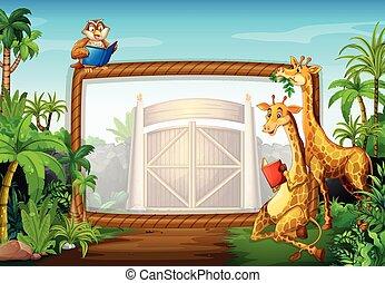 Frame design with giraffe and owl