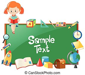 Frame design with girl reading book and school objects