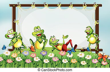 Frame design with green frogs in the garden