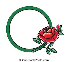 Frame Design with Hand Drawn Red Rose Green Leaves