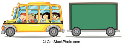Frame design with kids on bus
