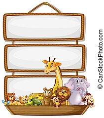 Frame design with many animals around border