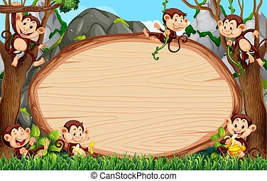 Frame design with many monkeys around border