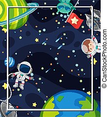 Frame design with many planets and astronauts in space