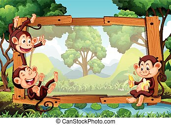 Frame design with monkeys in forest