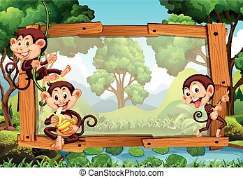 Frame design with monkeys in jungle