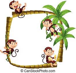Frame design with monkeys on coconut tree