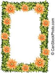 Frame design with orange flowers