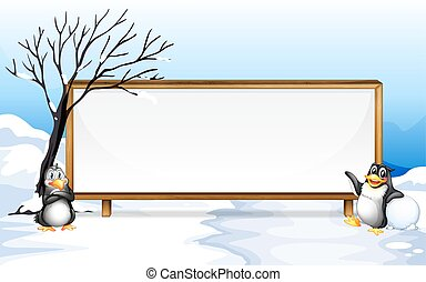 Frame design with penguin on snow