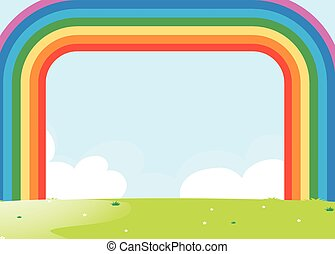 Frame design with rainbow over the field