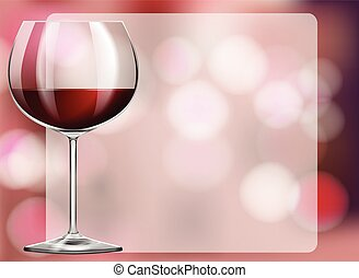 Frame design with red wine in glass