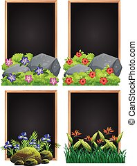 Frame design with rock and flowers