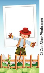 Frame design with scarecrow in field