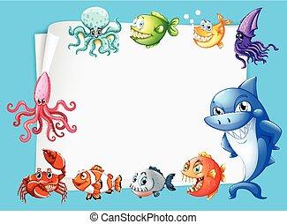 Frame design with sea animals background