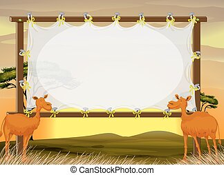Frame design with two camels in the field