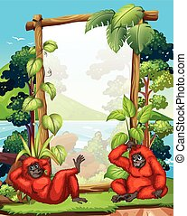 Frame design with two gibbons