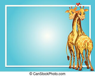 Frame design with two giraffes