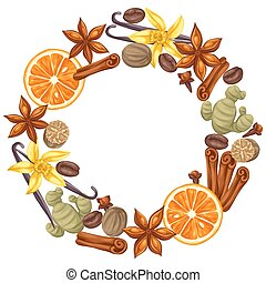 Frame design with various spices. Illustration of anise, cloves, vanilla, ginger and cinnamon.
