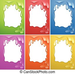 Frame design with watercolor melting