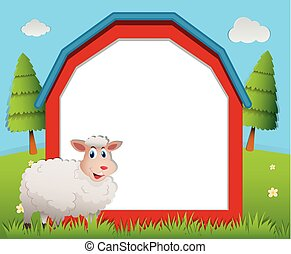 Frame design with white sheep