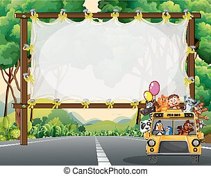 Frame design with wild animals on school bus