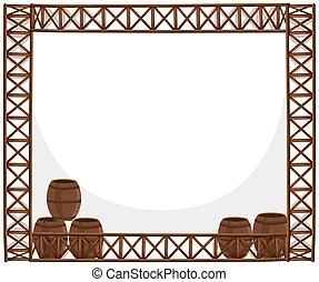 Frame design with wooden barrels