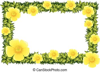 Frame design with yellow flowers