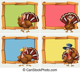 Frame designs with turkeys