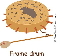Frame drum icon, isometric 3d style