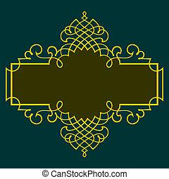 Frame - Elegance color frame on dark green background