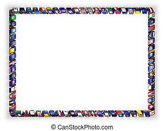frame, en, grens, van, lint, met, de, vlaggen, van, alles, staten, usa, rand, van, de, gouden, rope., 3d, illustratie