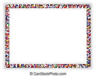 frame, en, grens, van, lint, met, vlaggen, van, alles, landen, van, de, europeaan, union., 3d, illustratie