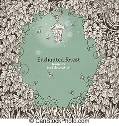 Frame Enchanted Forest with a flashlight - Frame for text...