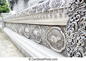 Frame engraving silver lacquer of thai lanna zodiac in temple Ch