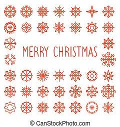 frame., fiocchi neve, testo, augurio, natività natale, vettore, allegro, anno, nuovo, texture., card.