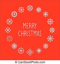 frame., fiocchi neve, testo, pattern., augurio, struttura, natività natale, vettore, allegro, anno, nuovo, o, rotondo, card.
