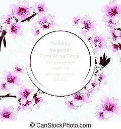 frame., fiore, ciliegia, text., illustrazione, primavera, invitation., vettore, posto, delicato, matrimonio, fiori, rotondo, scheda