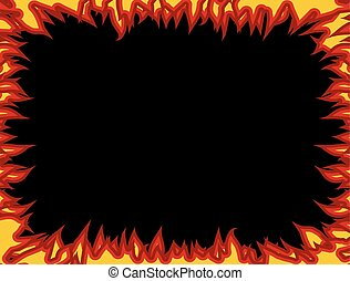 frame., flammes, brûler, edges., flamme, fond