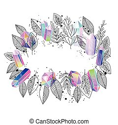 Frame floral and crystals vector