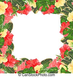 Frame floral border festive background with blooming hibiscus vector