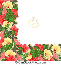 Frame floral border festive background with various hibiscus vector