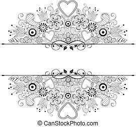 frame -  floral decoration on white background