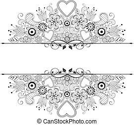 frame -  floral decoration on white background