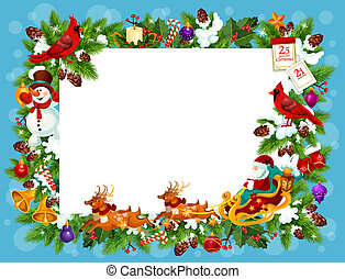 Frame for Christmas greeting card with blank space