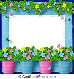 frame for greeting or congratulation with garland of flower