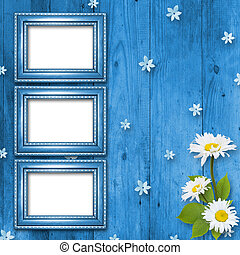 Frame for invitation or congratulation with bouquet of...